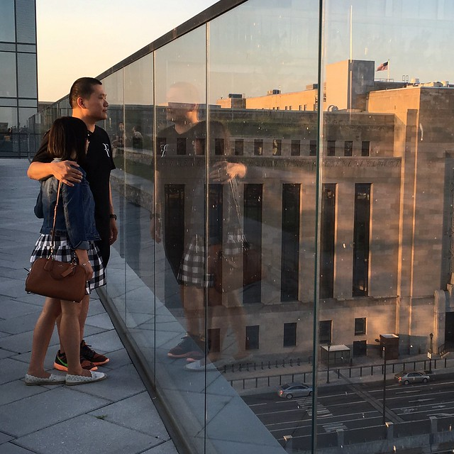 Through the looking glass at Cira Centre Green Park in Philadelphia with my husband