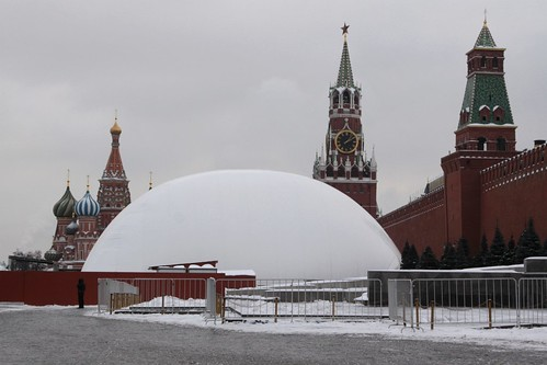 Lenin's Mausoleum covered with a plastic dome during repair work