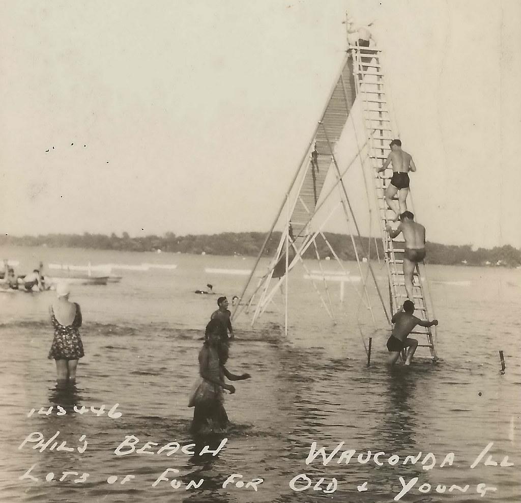 Illinois lake county wauconda -  Us Il Wauconda Il Rppc 1930s Beach Babes Waterfront Fun At Phils Beach Summer Resort