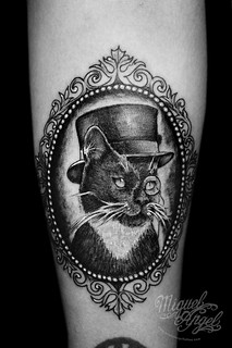 Cat With Monocle And Top Hat Tattoo