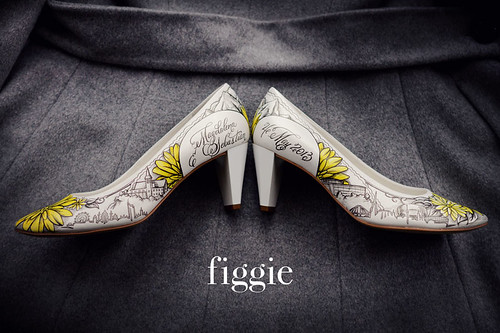 Magdalena L | Yellow and Grey Hand-Painted Wedding Shoes w ...