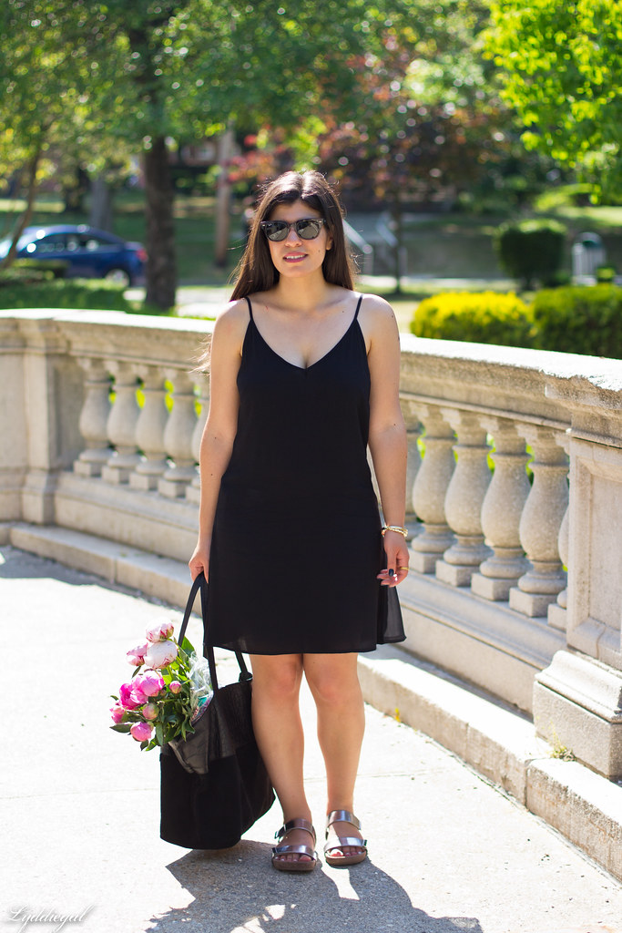 black slip dress, silver vionic sandals, black tote, peonies-1.jpg