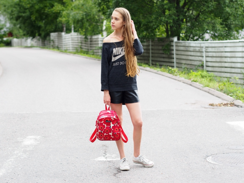 Sporty outfit featuring Nike, Marimekko, Pieces and Converse