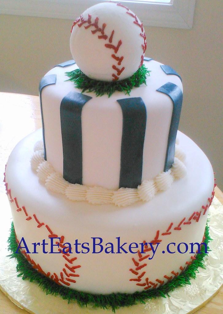 Boys Baseball Baby Shower Cake Cake With Blue Stripes Ba Flickr