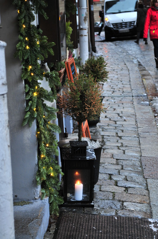 lighted candles in an alley, Stockholm