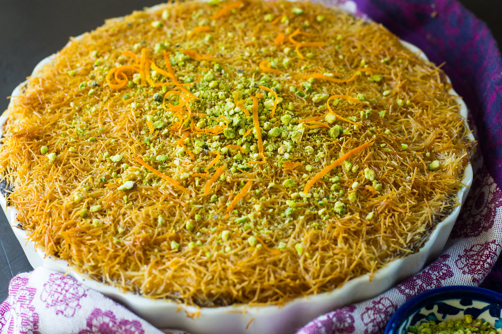 Kanafe: A Middle Eastern dessert with cheese and shredded phyllo