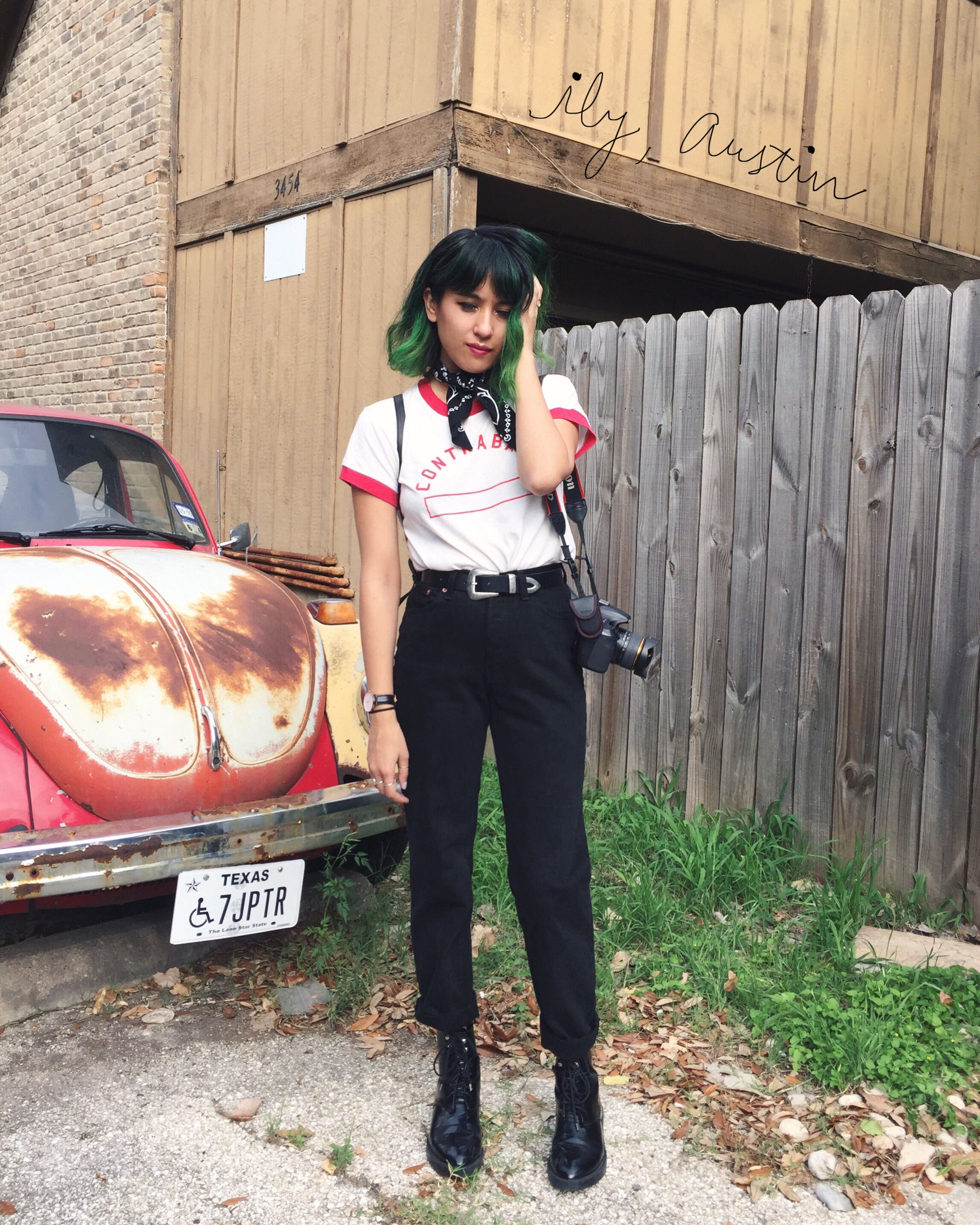 Camp Collection tee, Levi's 501, Zara boots, green ombre hair
