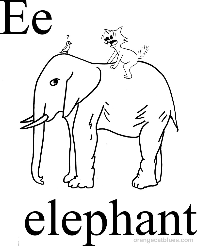 Coloring Page E For Elephant