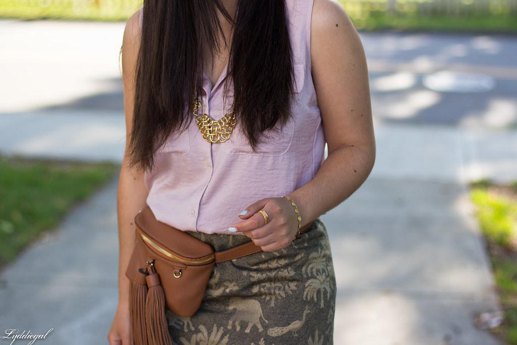 elephant print skirt, pink blouse, tassel waist bag-4.jpg