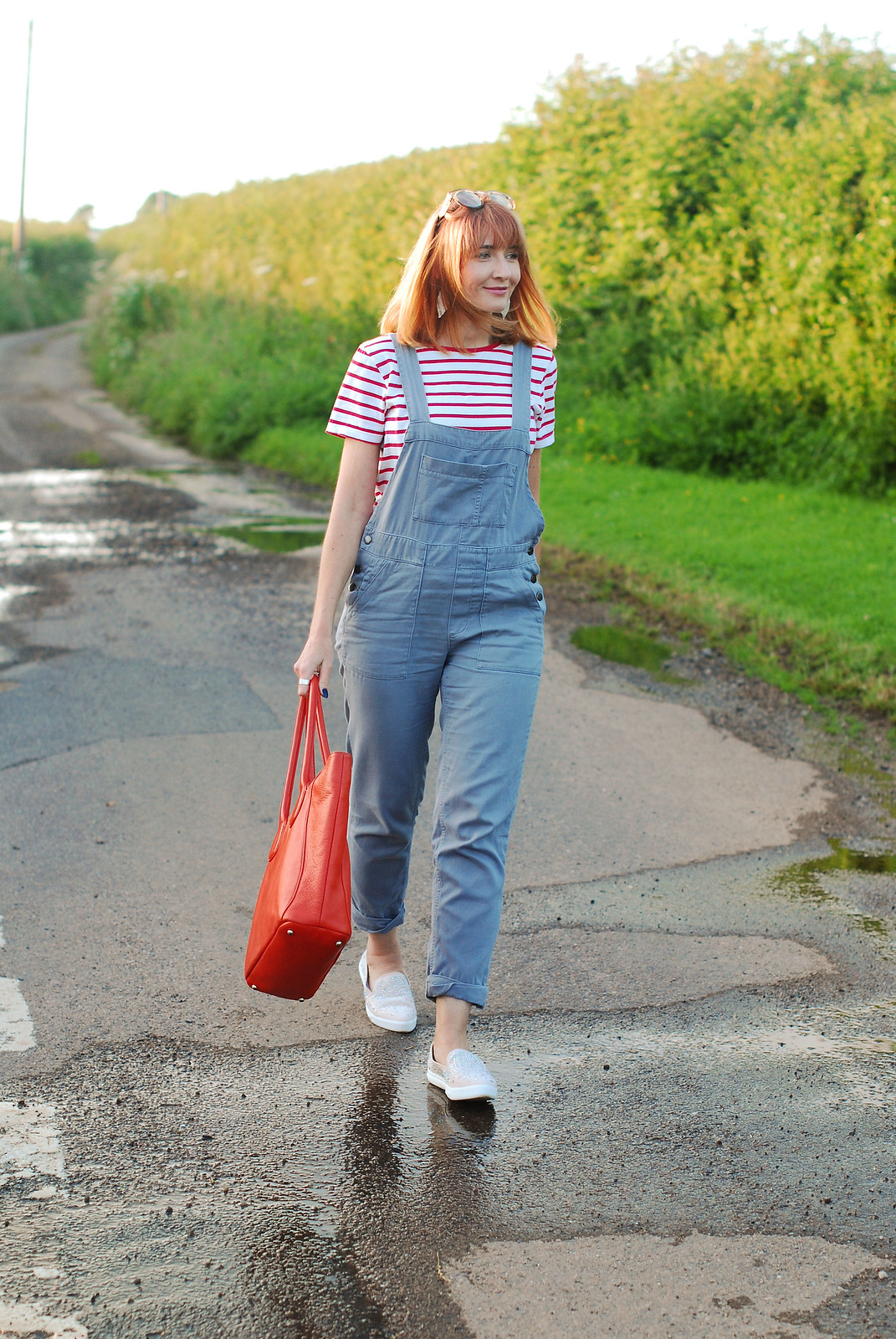 Casual spring summer look: Red Breton stripe t-shirt, grey dungarees, sparkly slip ons, orange tote   Not Dressed As Lamb