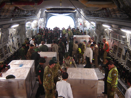 Australian aid being unloaded in Myanmar in response to Cyclone Nargis, 2008. Photo: AusAID | by DFAT photo library