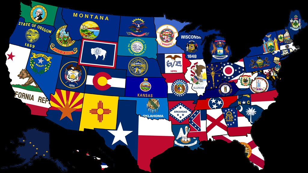 USA State Flag Map Map Of The USA With Their States Flags - The usa map