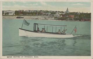 Nw Petoskey Bay View Mi Circa 1910 Excursion Launch And La