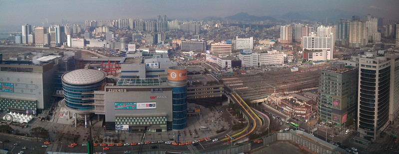 Yongsan station cityscape panorama, view from the top