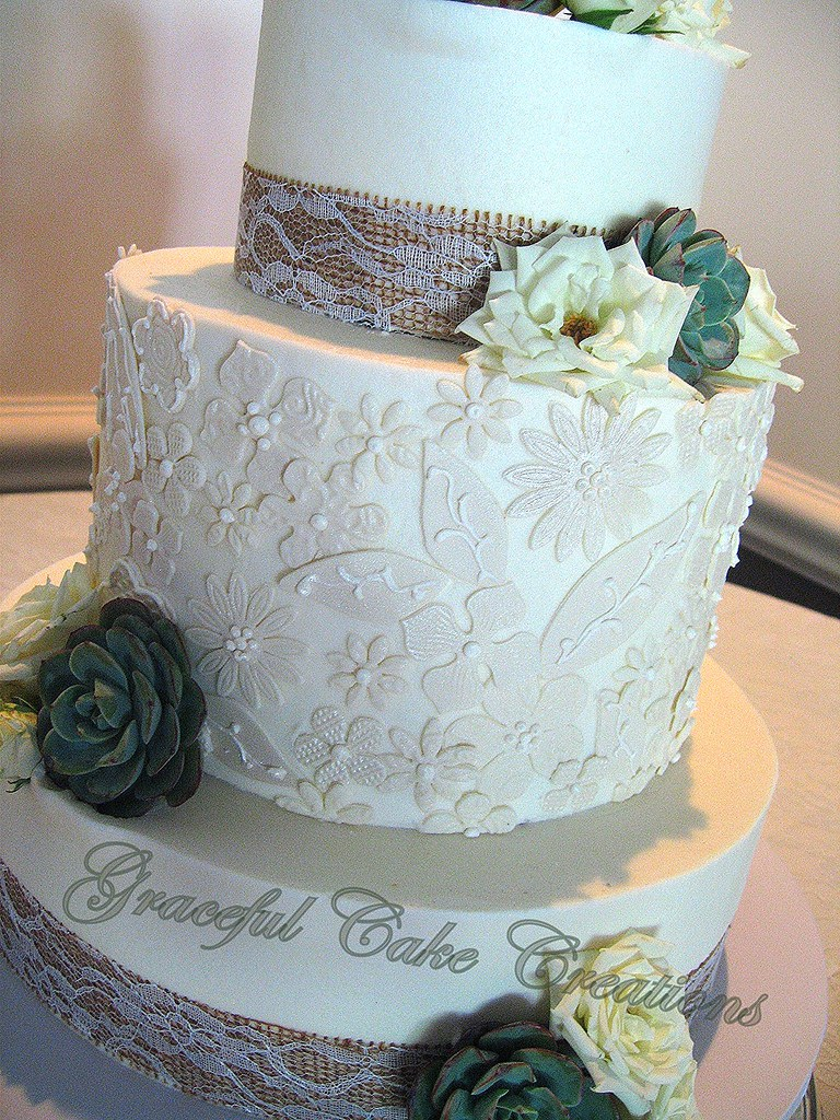 Elegant Rustic Chic Wedding Cake with Lace Applique | Flickr