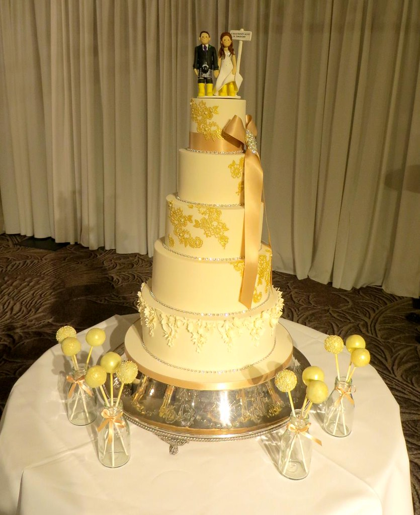 5 Tier Ivory, Gold & Taupe Wedding Cake | A Cherry On Top Scotland ...