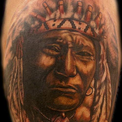 Native american tattoo indian chief tattoo portrait tat for Tattoo fort myers