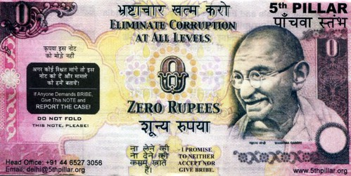India Zero Rupee Anti-Corruption note