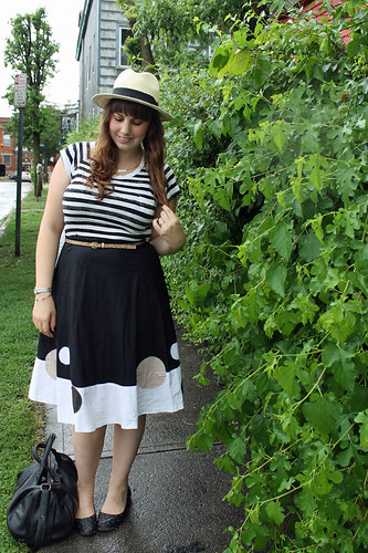 Straw & Stripes outfit: striped Gap t-shirt, vintage circle skirt, quilted Modcloth flats, straw fedora | by Célèste of Fashion is Evolution