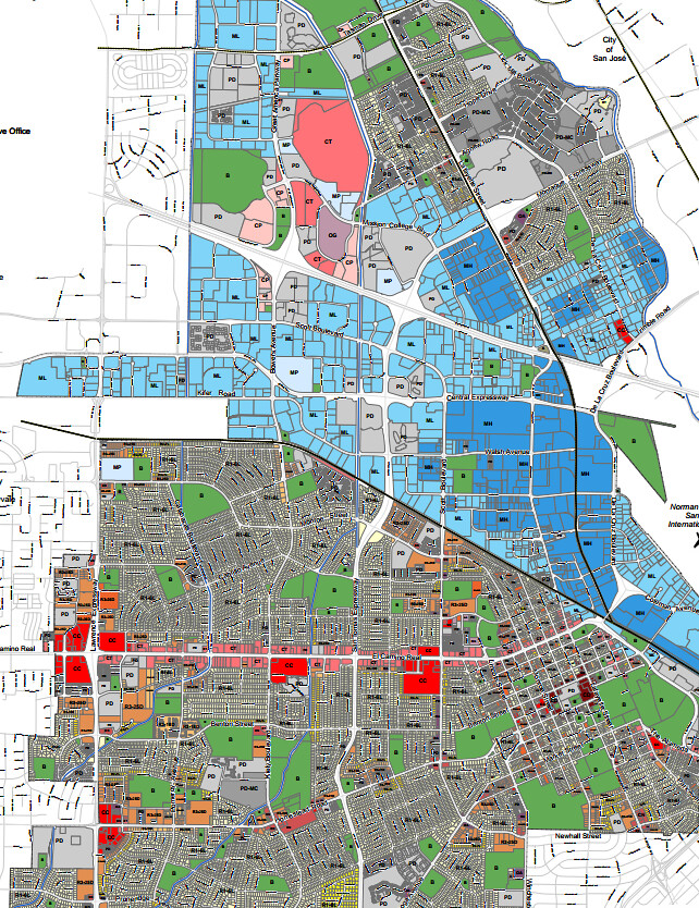 Santa Clara zoning map | Mostly residential south of Caltrai… | Flickr