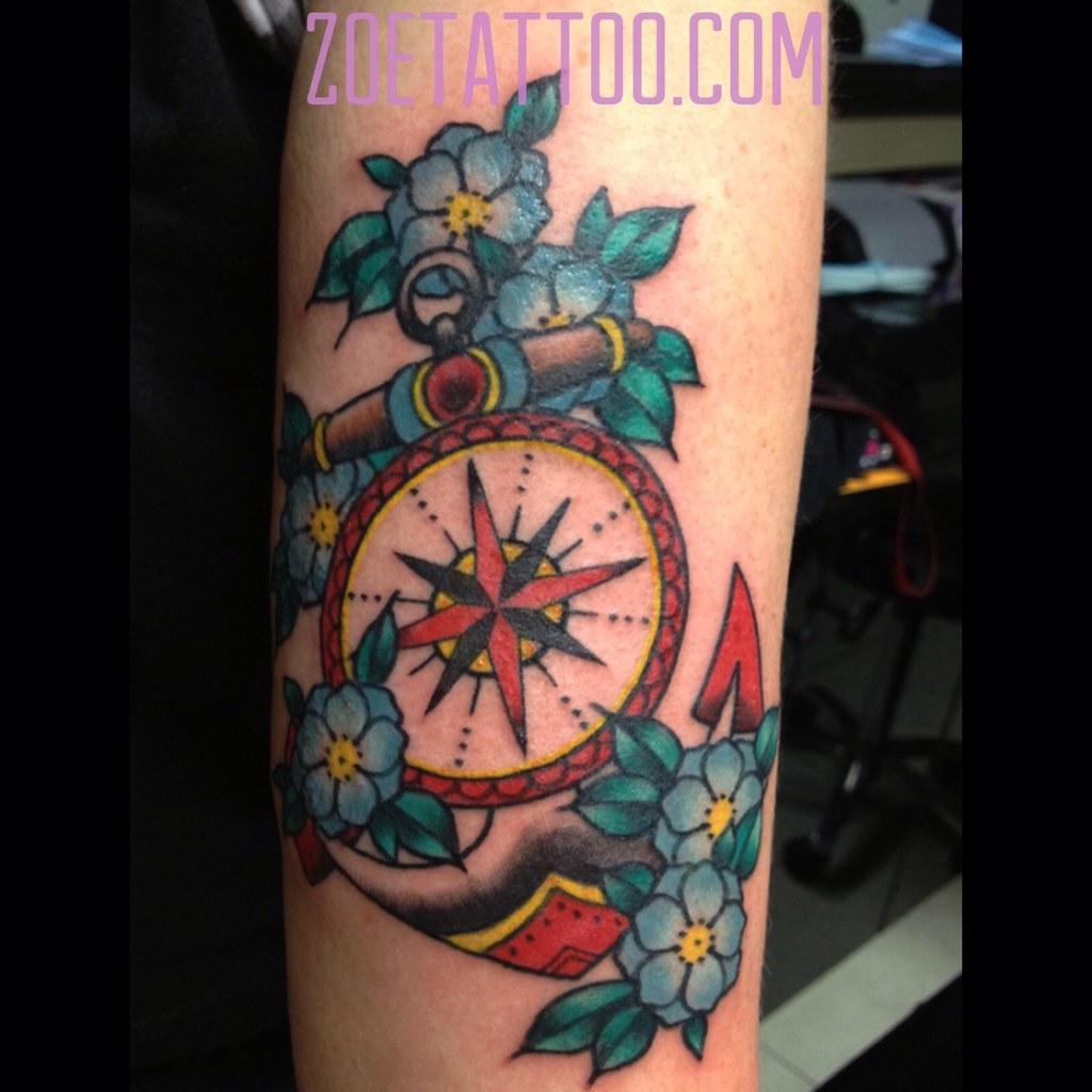 Excepcional Anchor and compass tattoo | Traditional style tattoo of an a… | Flickr TZ99