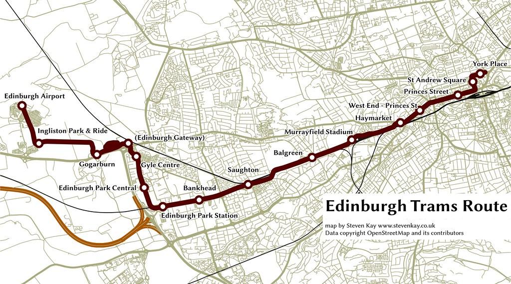 Edinburgh Tram Map Edinburgh Trams   route map for the Edinburgh Tram line. usi…   Flickr Edinburgh Tram Map