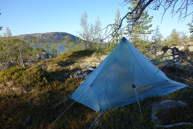 The nights campsite with Våndsjögusten on the other side of the lake