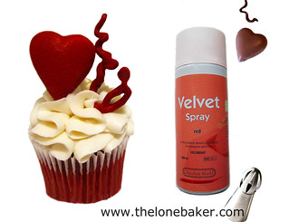 Red velvet cacao spray and sphere piping tips for easiest ruffle piping. | by The Lone Baker