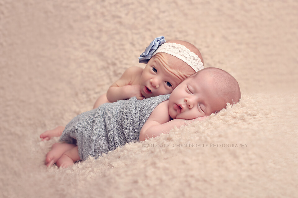 Newborn twins boy girl by gretchennoelle