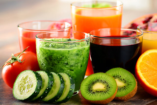 Glasses of fresh organic vegetable and fruit juices | by derrickbrutel