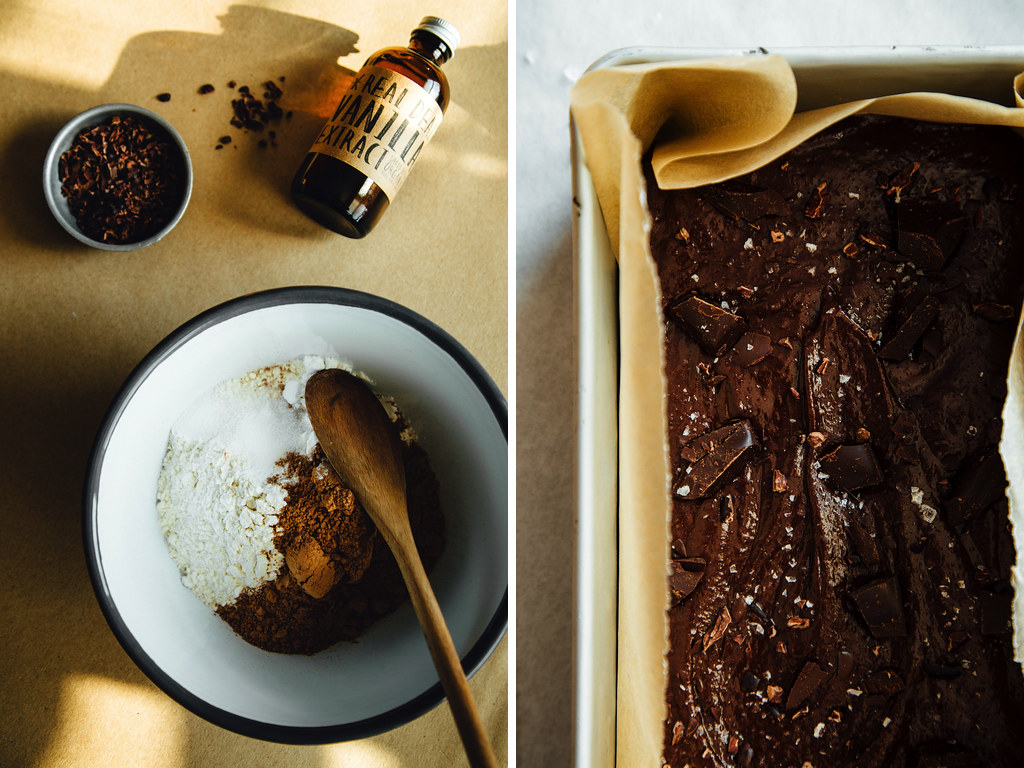 Chocolate-studded coconut oil brownies