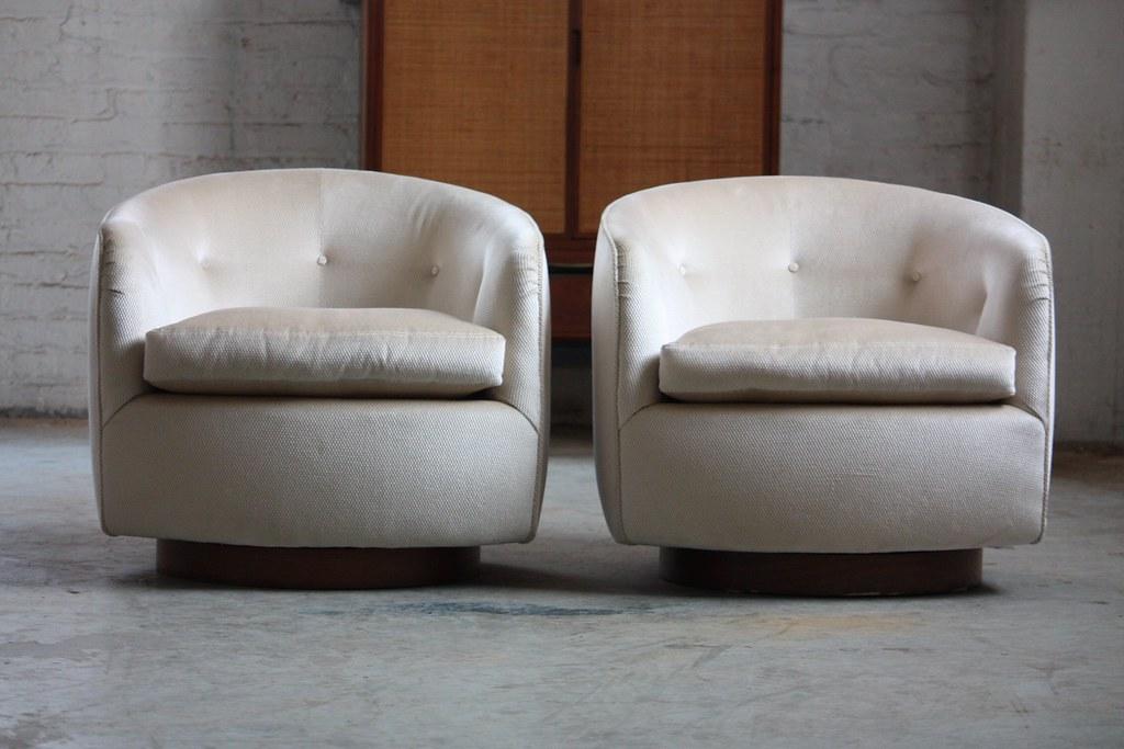 ... Ferocious Milo Baughman Mid Century Modern Swivel Rocker Barrel Club  Chairs (U.S.A., 1970s)