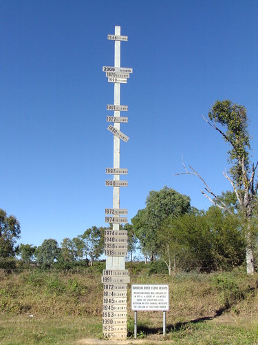 Flood sign post near Charters Towers Queensland. On banks ...