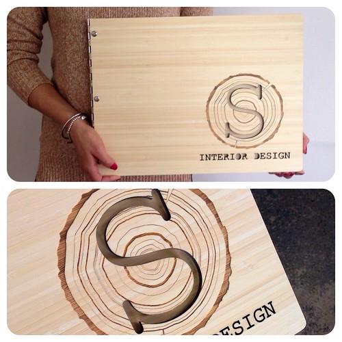 Custom interior design portfolio book with woodgrain engra - Online portfolio interior design ...