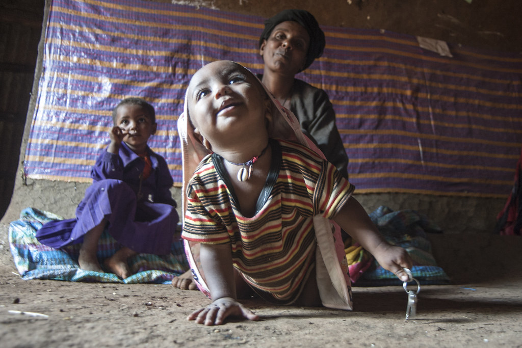 Yedeneku Aynalem, 38, with her 4 years old daughter Desta and son Barkelegn, 10 month