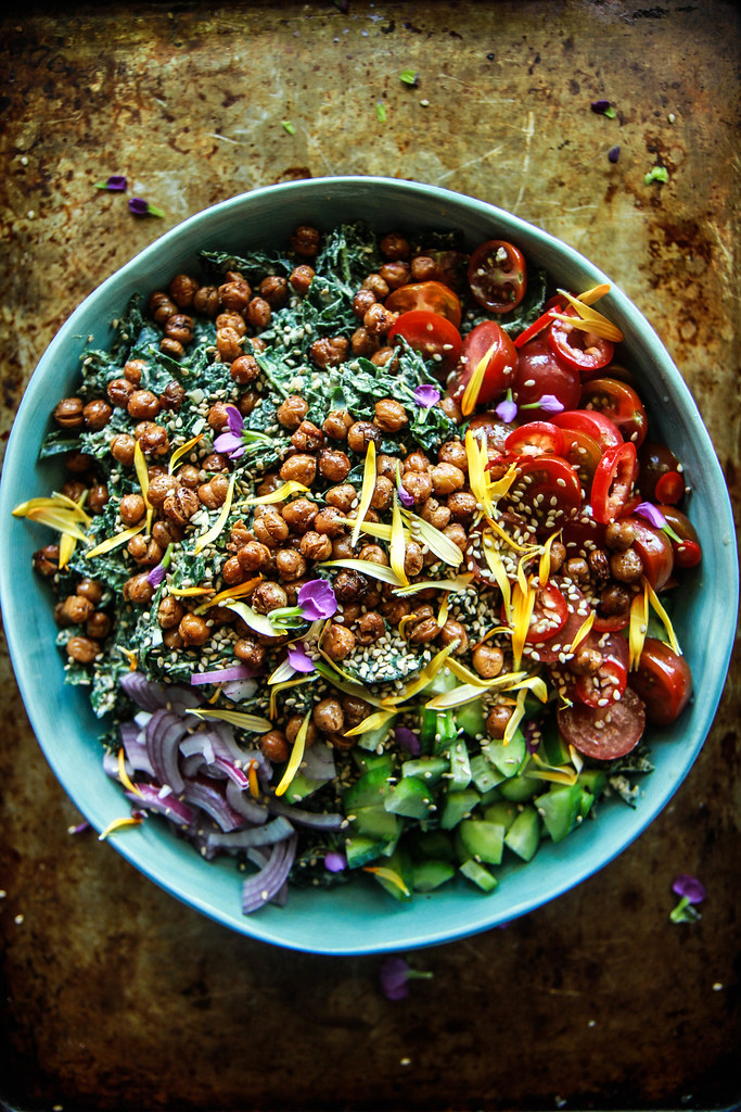 Tahini Kale Salad with Crispy Chickpeas- Vegan from HeatherChristo.com