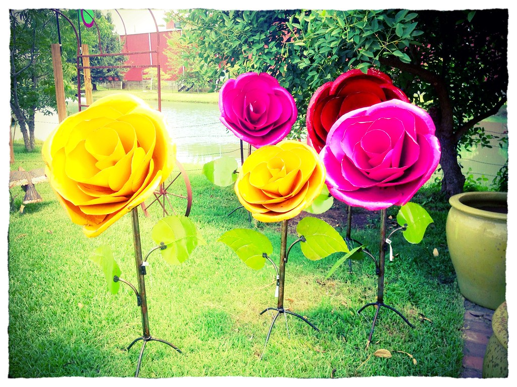 Giant flower garden decorations at Arbor Gate. | Michael Martin | Flickr
