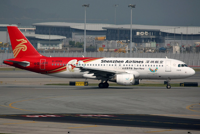Shenzhen Airlines, Airbus A320-200, B-6565, Summer Universiade logos, Hong Kong International