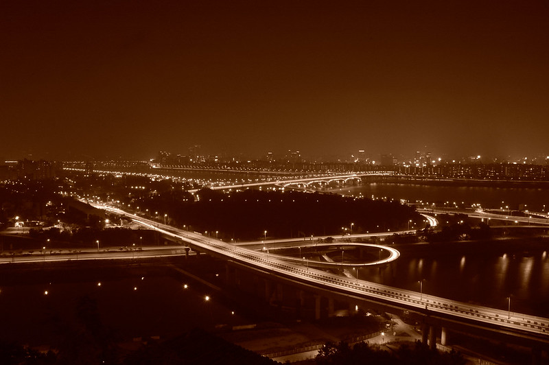 Night in Seoul, view from the Eungbongsan with sepia tone