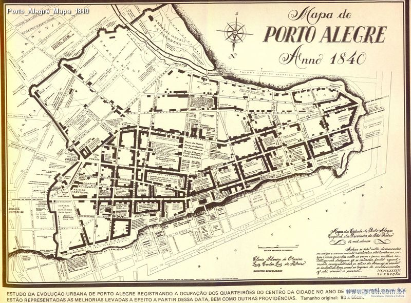 Porto Alegre Mapa 1840  Fotos Antigas RS  Visite wwwpraticom