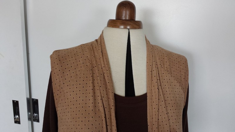 Butterick 5528 vest in perforated suede look knit from Darn Cheap Fabrics