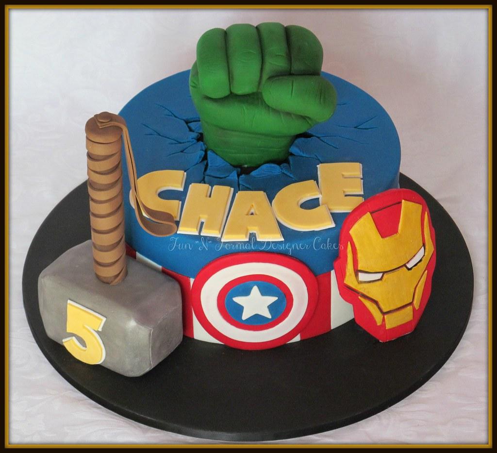 Avengers themed birthday cake Melissa Woodward Flickr