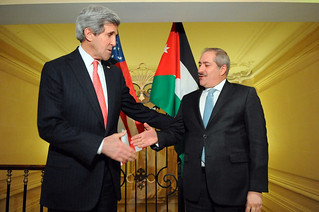 Secretary Kerry, Jordanian Foreign Minister Judeh Shake Hands After Addressing Reporters in Paris | by U.S. Department of State