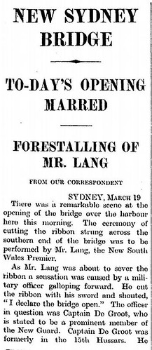 19th March 1932 - Opening of the Sydney Harbour Bridge | by Bradford Timeline