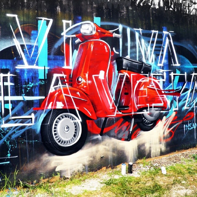 Viva La Vespa Graffiti Greece Red Retro Vespa Insane