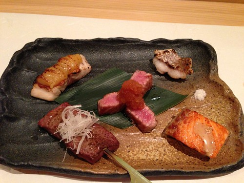 Bream with miso sauce, Kobe beef with daikon & ponzu, ocean trout | by T.Tseng