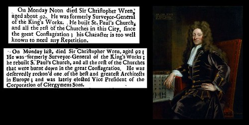 25th February 1723 - Death of Sir Christopher Wren | by Bradford Timeline