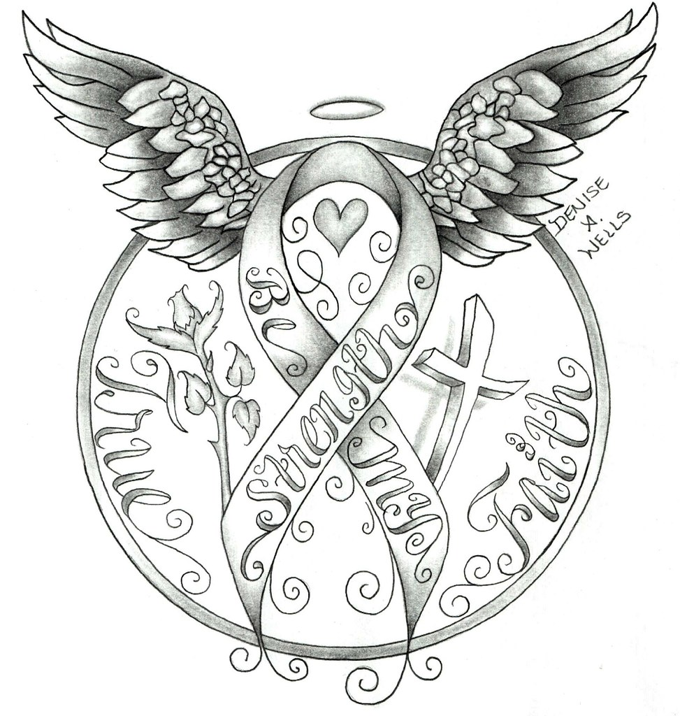 Strength Awareness Ribbon Tattoo Design By Denise A Wells Flickr