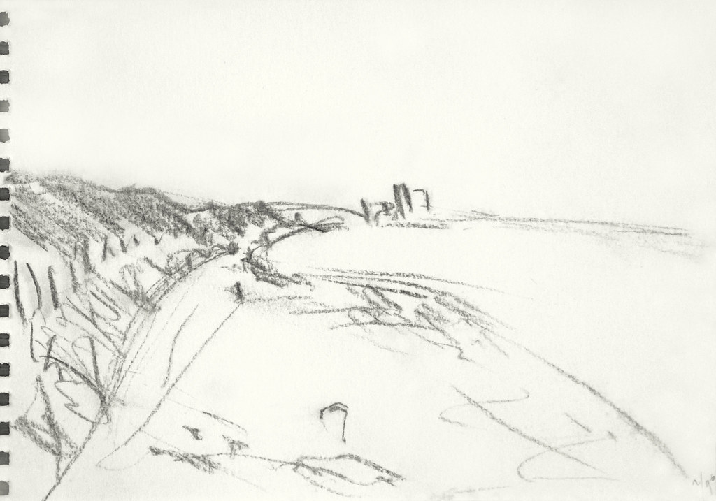 1990 sketch of dutch beach a pencil drawing of dutch coast and