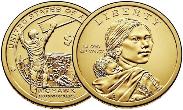 1 Dolár USA 2015 D, Sacagawea dollar - Mohawk ironworkers